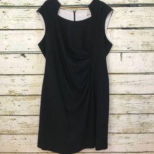CALVIN KLEIN Sheath dress ruched side black Sz 20W